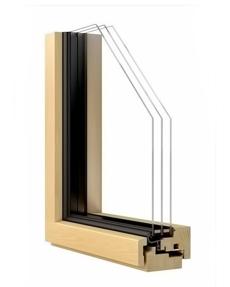 Деревянные окна HL78 со стеклопакетом