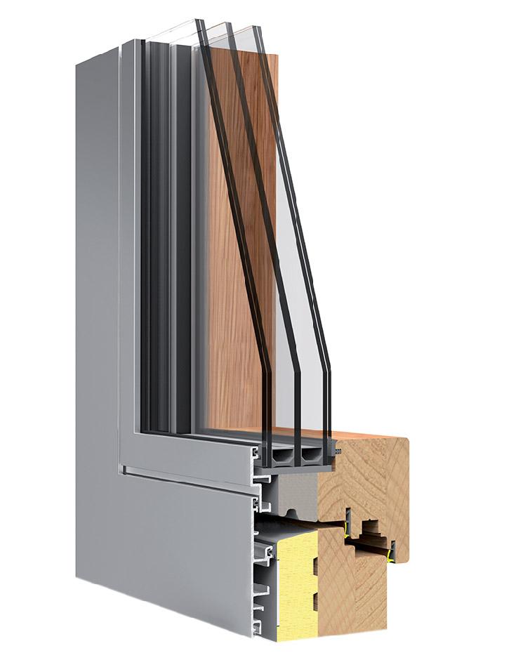 Дерево-алюминиевое окно FLAT